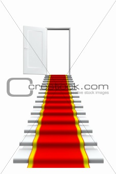 Red carpet on white stair