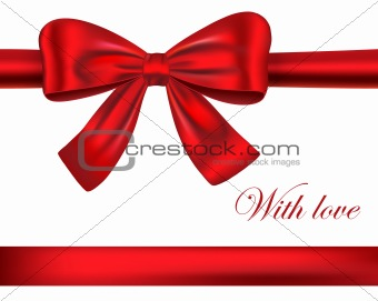 Red gift ribbons with bow