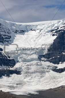 Glacier in the Canadian Rocky Mountains reaches the valley.
