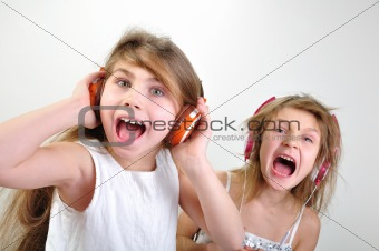 shouting children with headphones