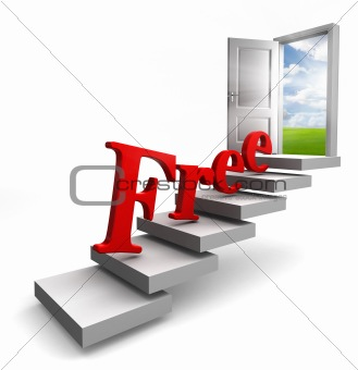 free red word on stair up to door