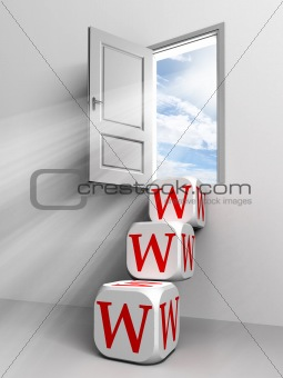 www conceptual door with sky