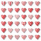 Heart icons set for valentine card.