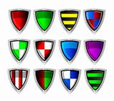 Vector set of colorful shields