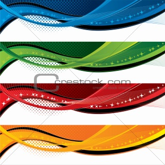 Banners with colorful waves and halftone effects