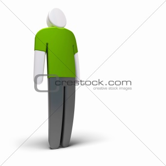 simple 3d character standing over white