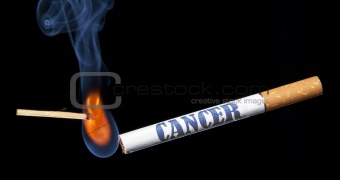 Closeup lighting cigarette