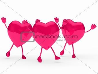 glossy pink valentine hearts wave