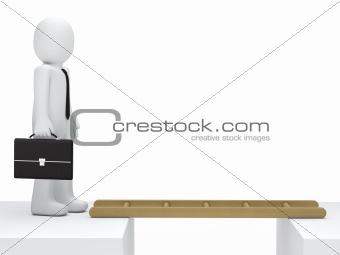 Businessman canyon ladder