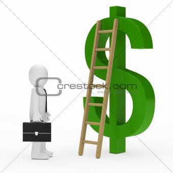 business man ladder dollar green