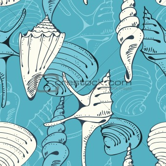 Seamless blue pattern with shells