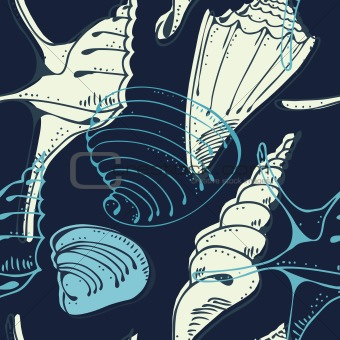 Seamless marine shell vector pattern
