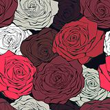 Retro rose seamless vector pattern