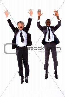 two businessmen jumping