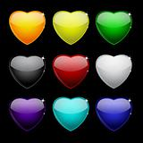 Color set of glass hearts on black for your design