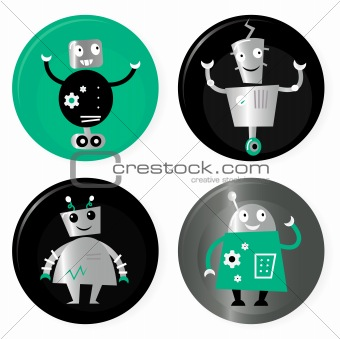 Cute retro robots badget collection isolated on white