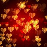 golden red hearts background
