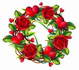 wreath of roses and hearts