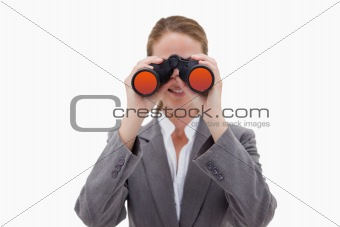 Bank employee using spy glasses