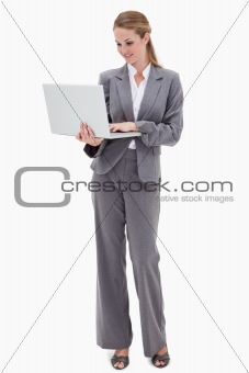 Bank employee with laptop
