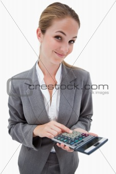 Bank employee with pocket calculator