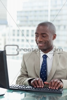 Portrait of an office worker using a computer