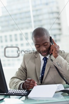 Portrait of an entrepreneur making a phone call while reading a document