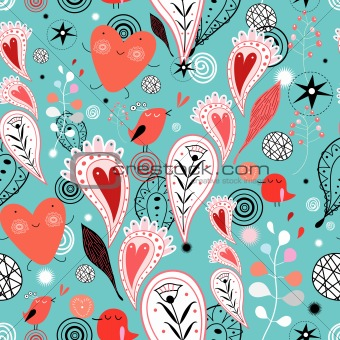 abstract pattern of hearts and birds