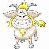 Vector cartoon funny goat smile