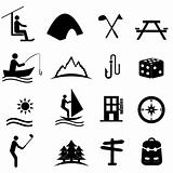 Leisure, sports and recreation icons