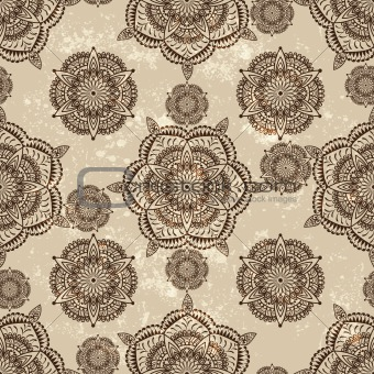 vector seamless wallpaper with abstract flowers