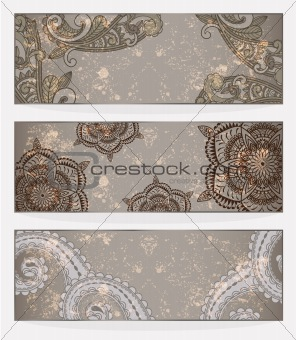 three vector banners with paisley pattern and place for your tex