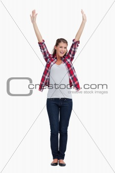 Portrait of a woman with the arms up
