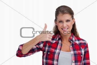 Woman with the thumb up