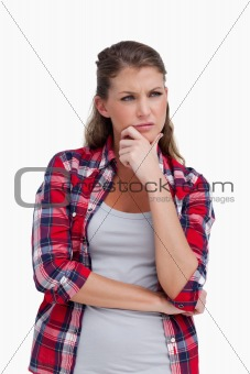 Portrait of a woman thinking