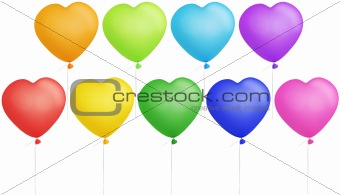 Set of colorful heart shape balloons