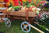 cart with vegetable and fruit on rural market