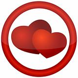 round icon with hearts