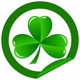 round sticker shamrock