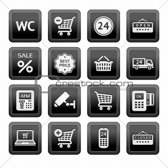 Set pictograms supermarket services, Shopping Icons