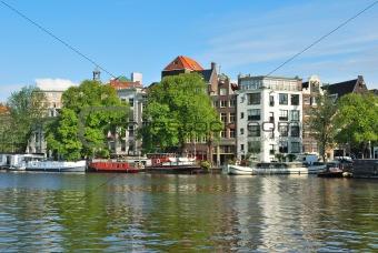 Amsterdam. River Amstel embankment