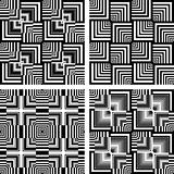 Seamless op art patterns set.