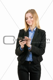Business woman working with the phone