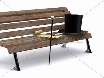letter on bench