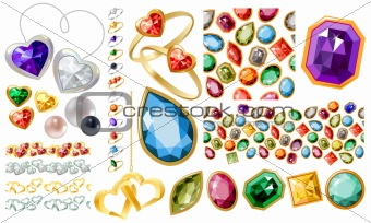 Big jewellery set with gems and rings