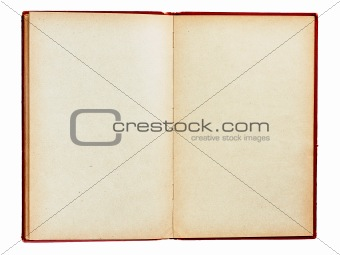 Old book with empty pages isolated