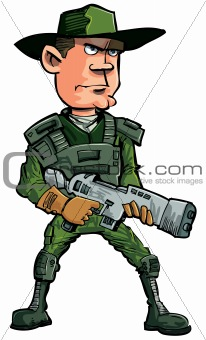 Cartoon soldier with a automatic rifle. Isolated on white