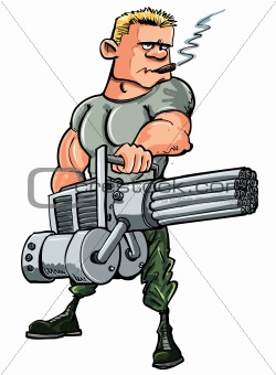 Cartoon soldier with a mini gun. Isolated on white