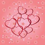 Background with red hearts.