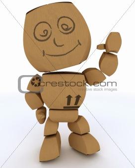 Cardboard Box figure waving hello
